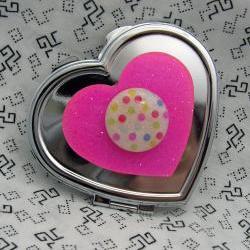 Hot Pink Heart and Polka Dots Compact Mirror